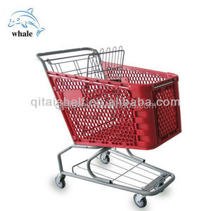 America style red plastic supermarket shopping trolley cart