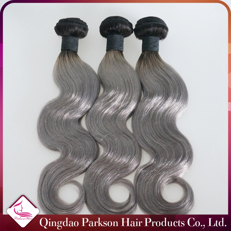 Malaysian Ombre Silver 1bgrey Color Human Remy Hair Weave