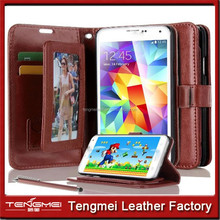 PU leather case for samsung galaxy S5,wallet flip case for samsung,money packet case for samsung