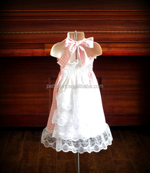 Custom Kids Girl Gingham Dress Pink Gingham Smocked Dress Wholesale