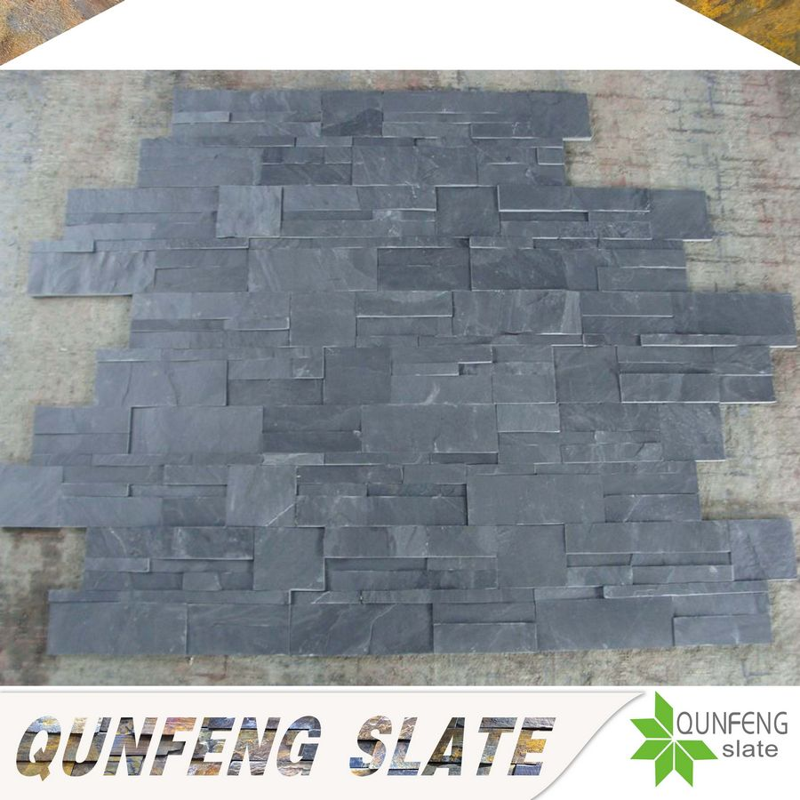 high quality split surface finishing black slate tile natural stone wall cladding