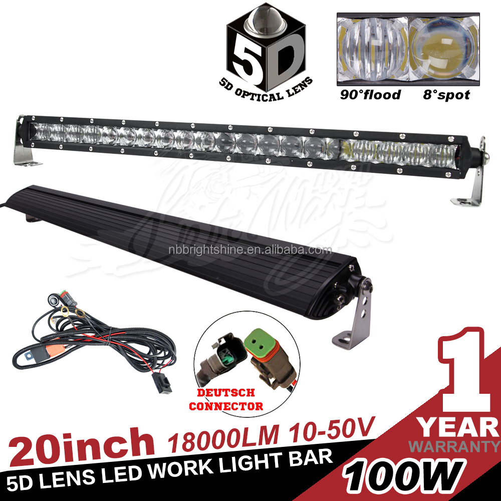 20inch 5D Lens Single Row 100w LED Light Bar For 4x4 Offroad