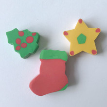 Novelty chirsmas tree star shoes shape custom pencil eraser for kids and promotion