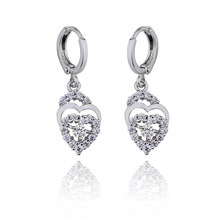 white gold plating cz bridal wedding chandelier earring