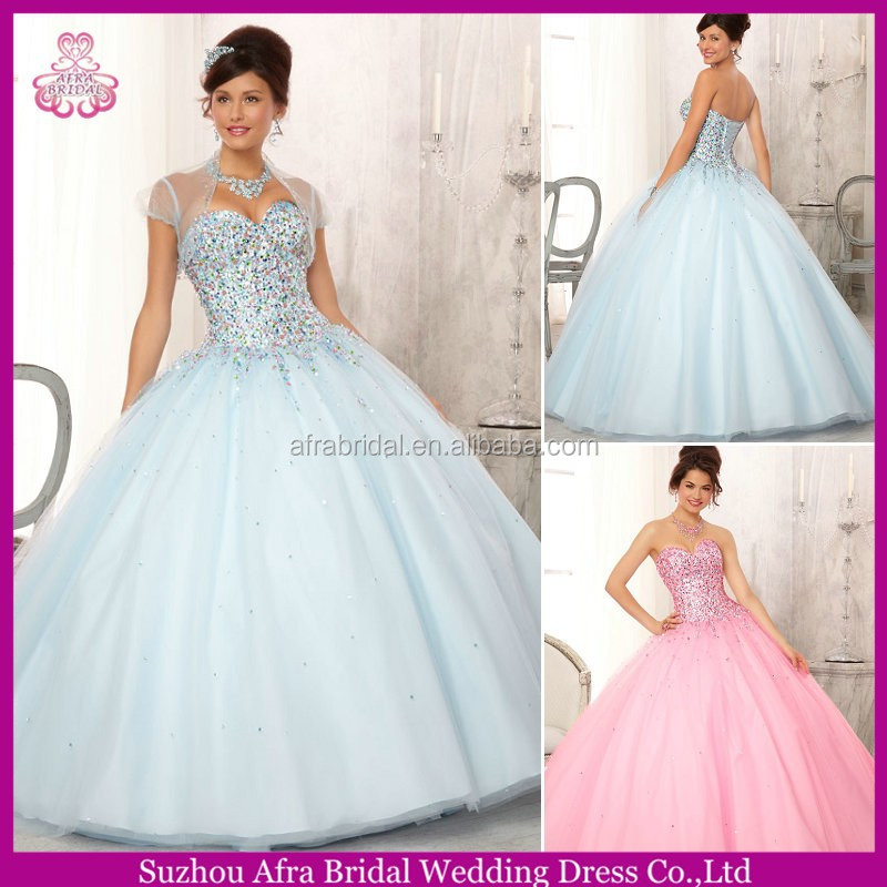 QQ425 Crystal beaded bling bling pink quinceanera dress wholesale factory quinceaneras hot