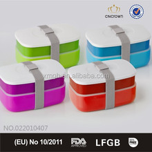 TOP SALE FDA Approved Stackable Bento Lunch Box, one or two layer available, BPA Free, Microwaveable With Belt from China