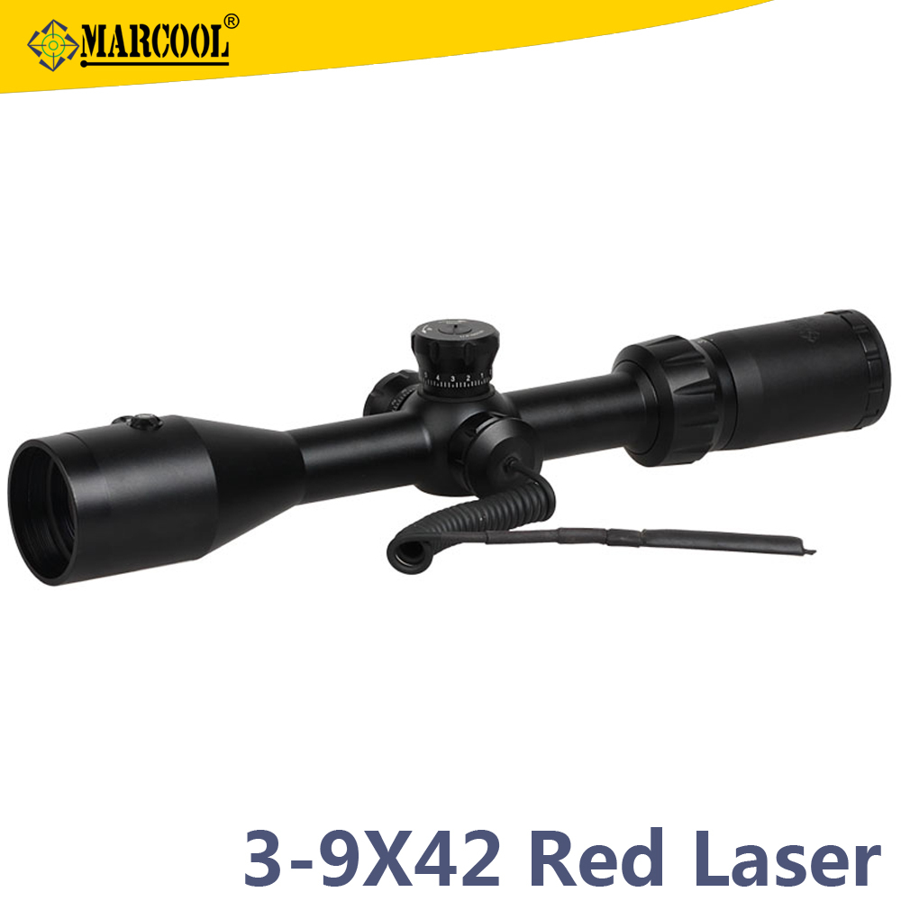 Christmas Gift Guangdong Marcool 3-9X42 RGB Sporting Goods Hunting Laser Range Finder Laser Rifle Scope With Laser Sight