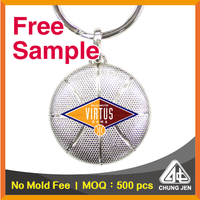 Free Sample_metal basketball t shirt jersey printed souvenir keychain
