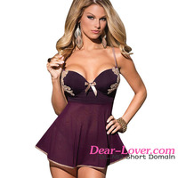 2 Pieces Microfiber and Mesh Lingerie Sexy Hot Mature Women Babydoll Sleepwear