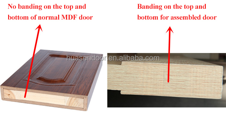 Soundproof solid wood and pvc plastic interior door with for Solid wood door construction