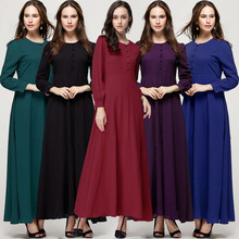 2016 Spring New Arrival Abaya Muslim Long sleeve Puer color Islamic Women Clothing