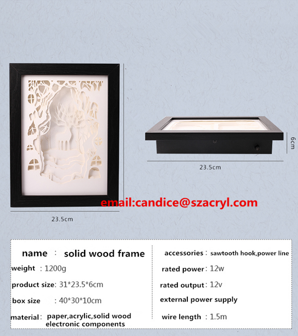 led light acrylic glass solid wood wall mounted photo frame