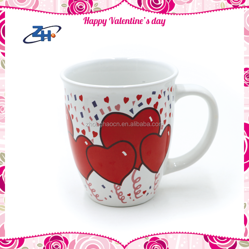 Fashion Style Drum Shape Valentine's Day Souvenir Ceramic Tea Cups