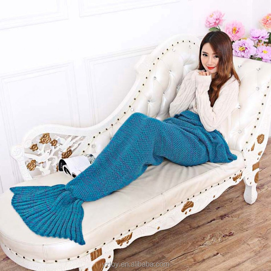 195x95CM Yarn Knitted Mermaid Tail Blanket Super Soft Sleeping Bed Handmade Crochet Anti-Pilling Portable Blankets For Autum