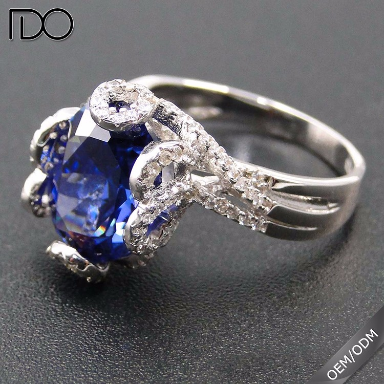 Factory price custom tanzanite color silver rings philippines