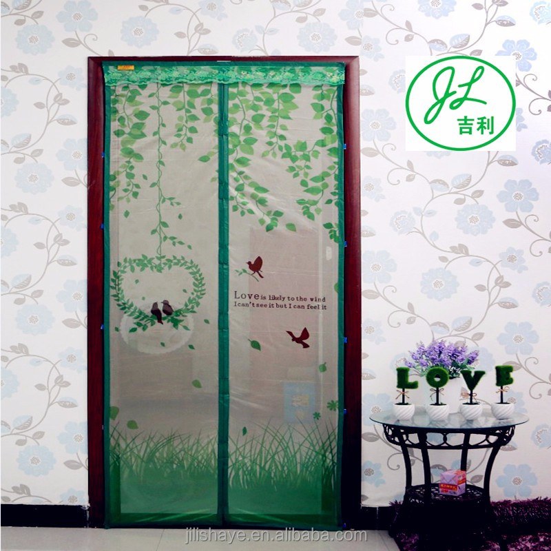 The printing series magnetic curtain door premium magnetic screen door with top lace