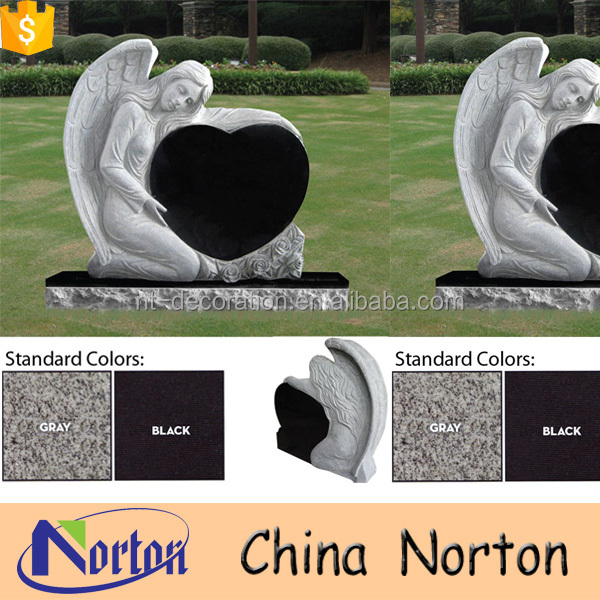 India black granite heart monument antique headstone NTGT-374A