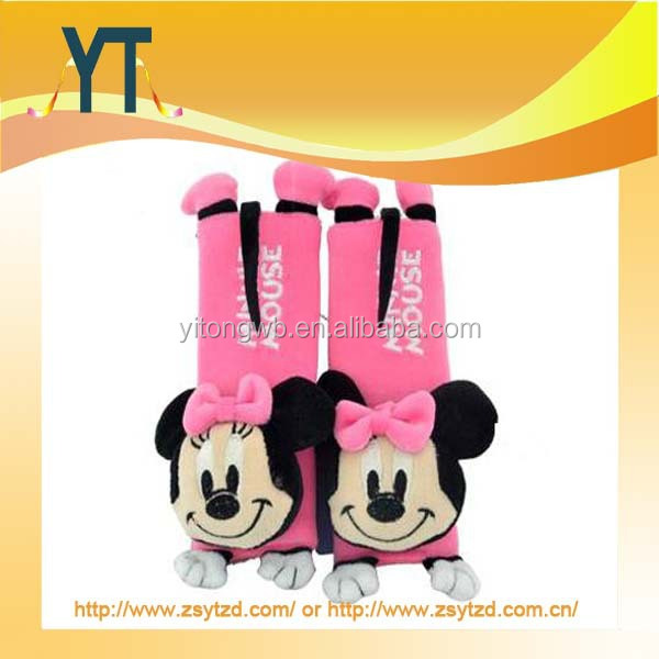 Pink Micky shape plush comfortable seat belt pad,carton shape safety seat belt cover
