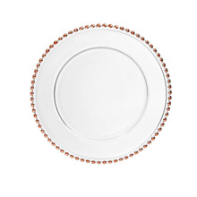 China manufacturers rose gold beaded wedding glass charger <strong>plate</strong>