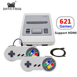 Data Frog Mini TV Game Console Support HD 8 Bit Retro Video Game Console Built-In 621 Games For SNES Family TV