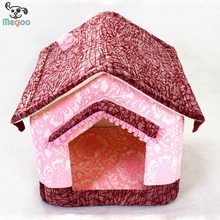 Newest Floral Pet Bed House Foam Padded Detachable Igloo Dog House With Cushion