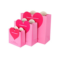 Big pop out pink love heart Valentine gift paper bags
