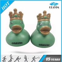 Gravim Natural Inflatable Rubber Baby Duck Toys With Crown