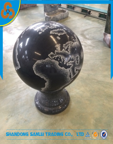 garden decorative black marble stone ball carving with map