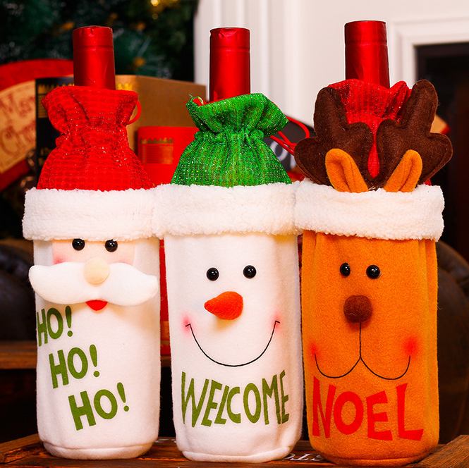 New style high quality christmas wine cover cute santa claus snowman deer bottle bag christmas wine bottle decorations