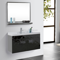 Bevel black wall mounted stainless steel laundry cabinets
