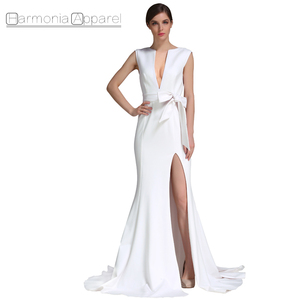 FL398 high quality deep -neck big train white latest design formal evening gown dress