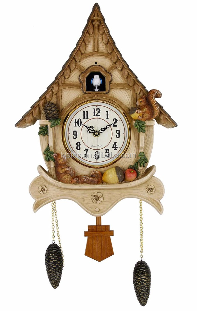 modern standing cuckoo wall clock with bird come out andflip flap