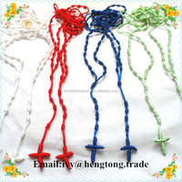 2016 hot sale mixed colors religious rosary rope necklace, catholic cord knitted knot rosary, cord rosary