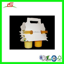 N332 New Design Paper Packaging Bag for Beverage, Juice 2 Cup Carrier With Handle, Beverage Retail Cup Packaging