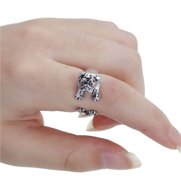 New Fashion Antique Silver Dog Animal 3D Open Rings
