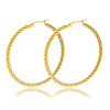 Personalized Best Sale Antique Stainless Steel Fashion Jewelry Earrings Women Gold Plated Twisted Large Hoop Earrings