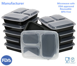 Meal Prep Food Storage FDA Approved Plastic Lunch Box bento container 3-Compartment Microwave safe Divided plate