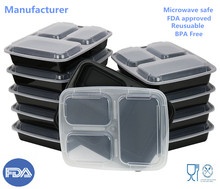 Plastic food storage containers Meal prep 3 Compartment container with airtight Lids, Microwave,32oz Bento Box BPA Free