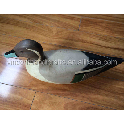 Outlet craft hand carved wooden decorative duck, painted duck statue, wood duck figurine for yard and garden decor