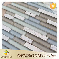 China 300*300Mm Decorative Wall Random Strip Glass Mosaic Tile
