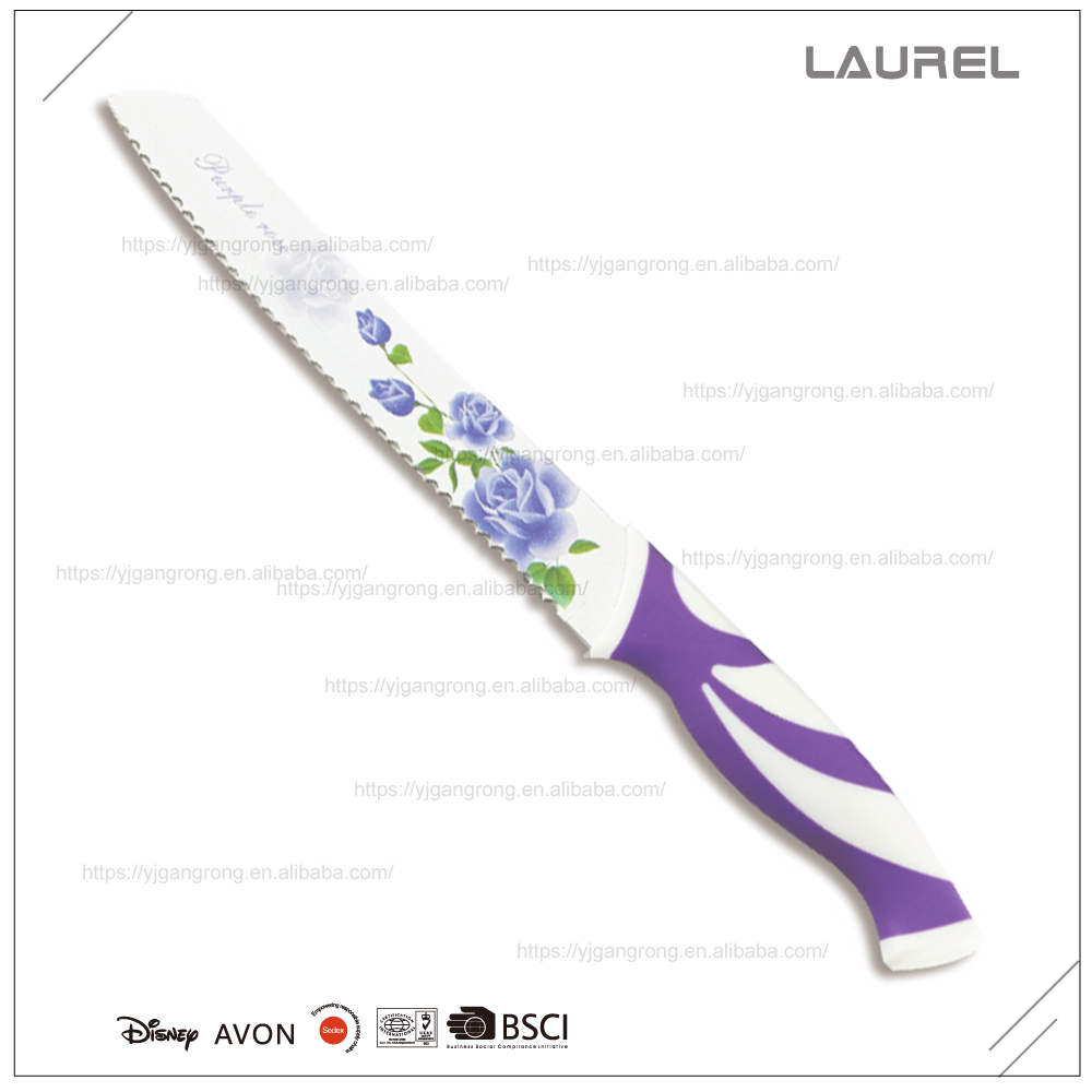 "Blade printing Bread knife 8"" with PP + TPR handle"