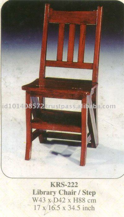 Library Chair / step Mahogany Indoor Furniture.