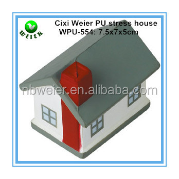 7.5x7x5cm customized PU stress ball house shaped/kids gifts PU anti stress house/kids toy PU foam house
