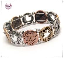 Metal casting tritone metal disk message stretch bracelet - live laugh love