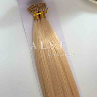 Double Drawn Remy silky straight Brazilian human hair prebonded keratin i tip hair extension