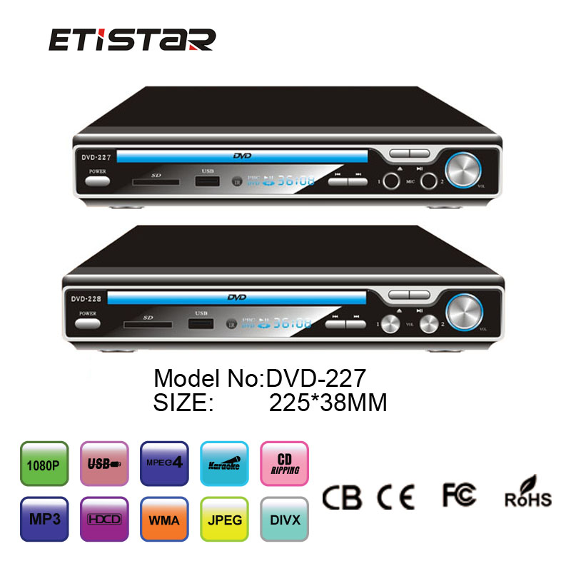 High quality home dvd support karaoke sd card reader cheap dvd player with usb