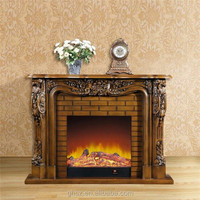 Custom solid wood TV cabinet decorative indoor fireplace wholesale