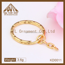 fashion high quality gold color key ring with chain link