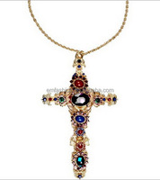 2014 Wholesale Fashion Baroque Style Gem Cross Pendant Chain Necklace