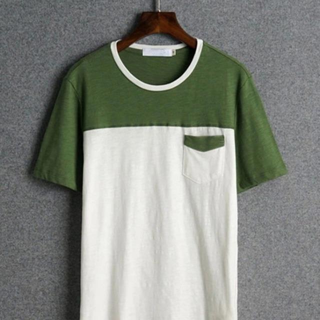 Two Combination Color Men's Plain Cotton Pocket T Shirt